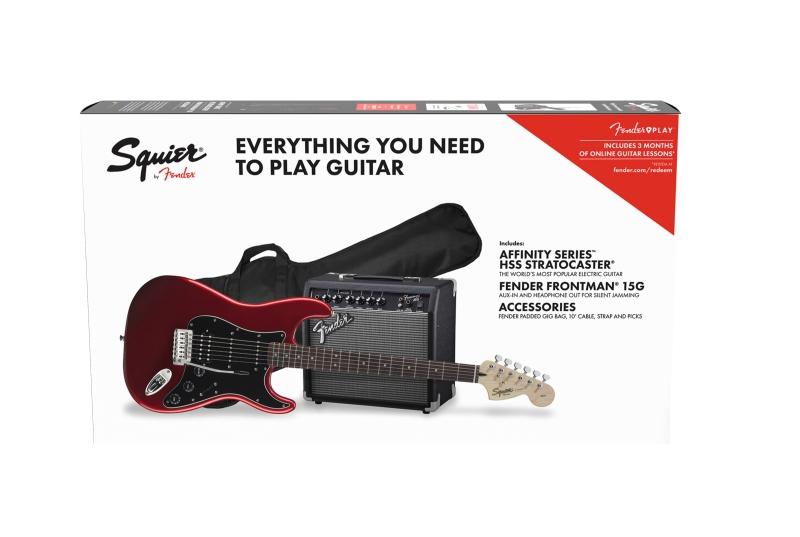 Fender Squier PK Strat HSS 15G BSB elektriskās ģitāras komplekts